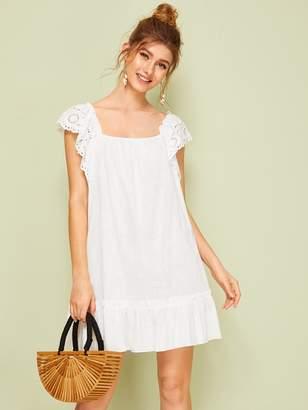 Shein Eyelet Embroidery Square Neck Ruffle Hem Dress