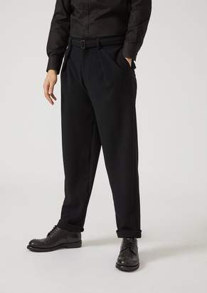 Emporio Armani Embossed Fabric Trousers With Detachable Belt