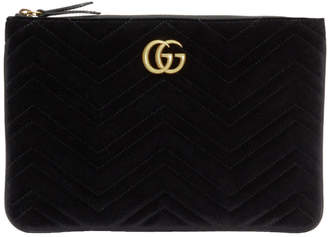 Gucci Black GG Marmont 2.0 Velvet Pouch