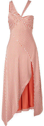 Jonathan Simkhai Asymmetric Striped Sateen Dress - Brick