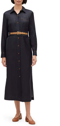 c3d585a223c5 Lafayette 148 New York Madra Mercantile Cloth Button-Front Long-Sleeve  Belted Dress