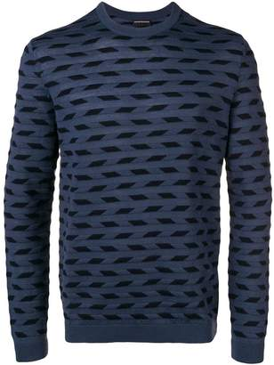 Emporio Armani patterned fine knit sweater
