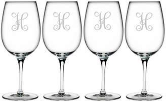 One Kings Lane Set of 4 Vine Monogram Bordeaux Glasses