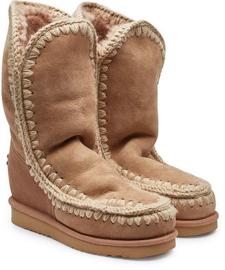 Mou Sheepskin Tall Wedge Boots