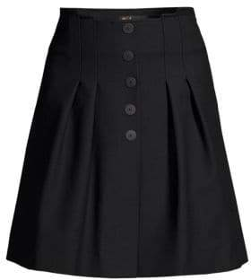 Maje Women's Button Front Pleated Mini Skirt - Black - Size 42 (10)