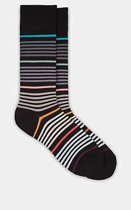 Paul Smith Men's Vita Striped Stretch-Cotton Mid-Calf Socks - Black