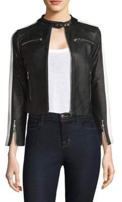 Zip-Up Stripe Arm Leather Jacket