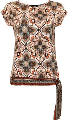 WallisWallis Brown Paisley Print Tie Hem Top