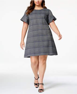 Calvin Klein Plus Size Plaid Flared-Sleeve Dress