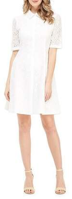 Gal Meets Glam Button-Up Short-Sleeve Lace A-Line Dress