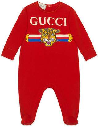 Gucci Logo Print Footie Pajamas, Size 0-9 Months