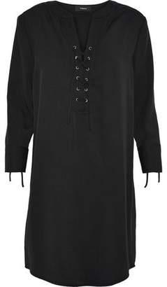 Theory Jullitah Lace-Up Tencel-Twill Mini Dress