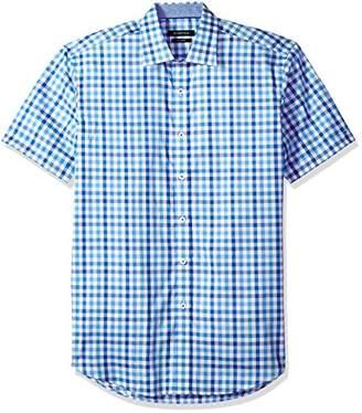 Bugatchi Men's Fitted Short Sleeve Brush Strokes Design Woven Shirt