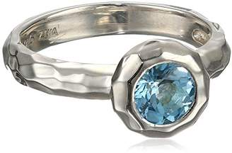 "Zina Sterling ""Sahara Collection"" Ripple Textured Blue Topaz Ring"