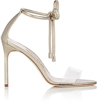 Manolo Blahnik Women's Estro Leather & PVC Ankle-Tie Sandals $745 thestylecure.com