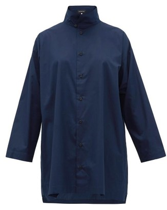 eskandar Band Collar Cotton Poplin Shirt - Womens - Navy