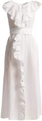 THREE GRACES LONDON Marble ruffled linen maxi dress