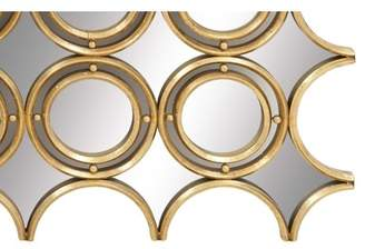 Decmode Glam 36 X 45 Inch Geometric Metal And Glass Wall Mirror, Gold, Reflective