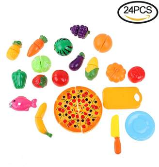 Centtechi Pretend Play Food Kitchen Toys, 24 Pcs Kids Cutting Fruits Vegetables Plastic Pizza Toy Sets Grocery Shopping Educational Early Age Basic Skill Development Learning Cooking Kit for Girls Boys Age 3+