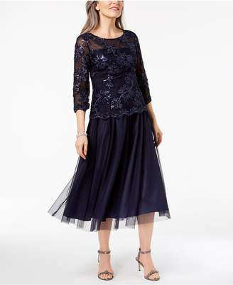 Alex Evenings Sequined Illusion Midi Dress