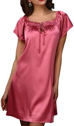 Aivtalk Women s Short Sleeve Satin Chemise Nightgown Slip Sleep Dress - XL 442913d73