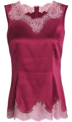 Dolce & Gabbana Lace-Trimmed Silk-Blend Satin Top