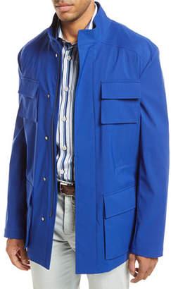 Kiton Safari Four-Pocket Coat, Blue