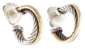 David Yurman Two-Tone Crossover Hoop Earrings