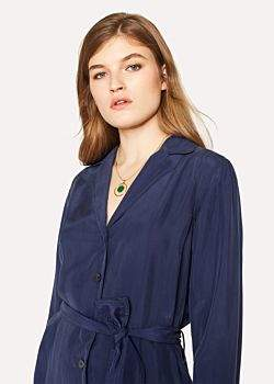 Paul Smith Women's Navy Silk Shirt-Dress