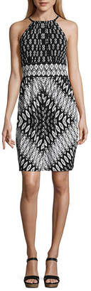 London Times Sleeveless Diamond A-Line Dress-Petites
