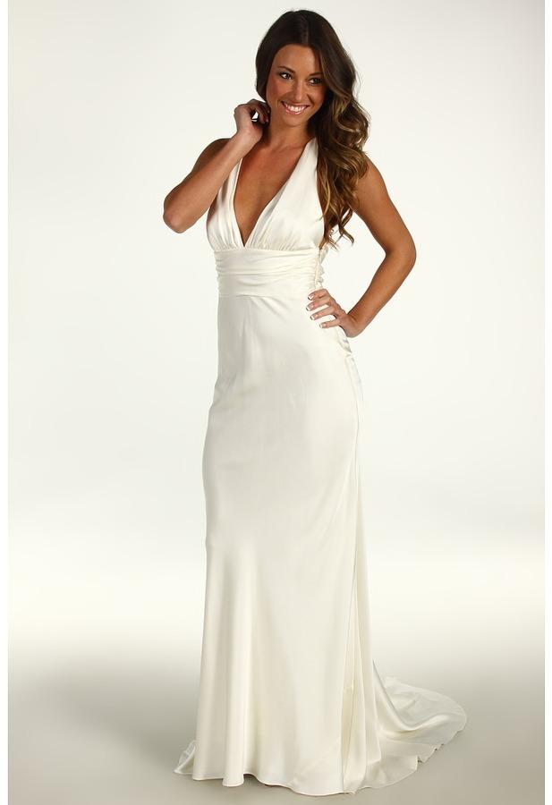 Nicole Miller Double Face Satin Halter Gown (Antique White) - Apparel