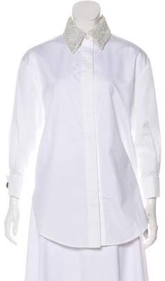 Andrew Gn Leather-Trimmed Button-Up Top