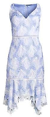 Elie Tahari Women's Mariya Floral Crochet Dress