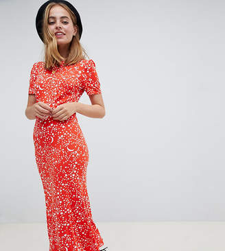 Asos Design Petite City Maxi Tea Dress In Star Print