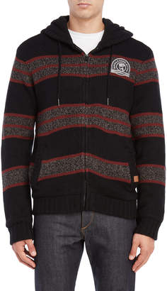 Buffalo David Bitton Logo Zip Front Hooded Sweater