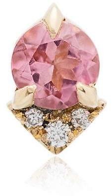 Lizzie Mandler Fine Jewelry Spike stud pink morganite and diamond 18K yellow gold single earring
