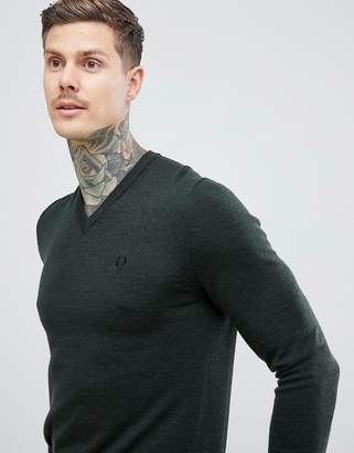 Fred Perry v-neck merino knitted sweater in green
