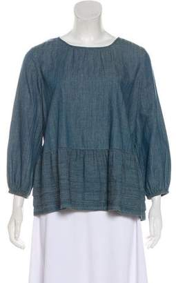 The Great Ruffled Chambray Top