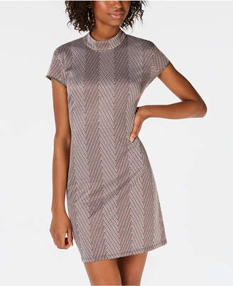 Teeze Me Juniors' Mock-Neck Chevron Cutout Dress
