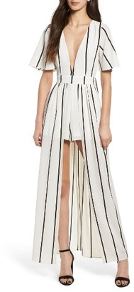 Women's Socialite Walk Through Stripe Overlay Romper $75 thestylecure.com