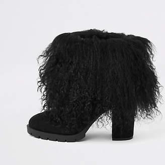 River Island Black Mongolian fur cuff block heel boots