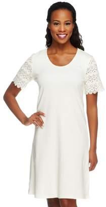 Liz Claiborne New York Petite Lace Sleeve T-Shirt Dress