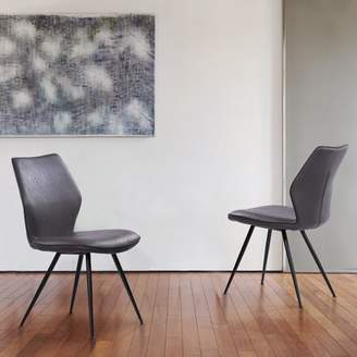 Marelana Luciano Contemporary Dining Chair in Black Powder Coated Finish and Grey Faux Leather - Set of 2