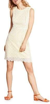 Brooks Brothers Red Fleece Crocheted Lace Cotton Sheath Dress