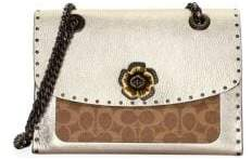 Coach Parker Leather Shoulder Bag with Rivets and Snakeskin Detail