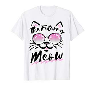 abc2d404 The Future Is Meow Sunglasses Cat Graphic T-Shirt