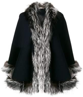 N.Peal fur trimmed cashmere cape