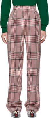Gucci White and Red Straight Plaid Trousers