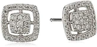 Sterling Silver Beaded Square Diamond Stud Earrings (1/5cttw
