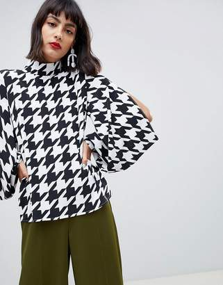 Asos Design DESIGN long sleeve oversized top with sleeve detail in houndstooth check